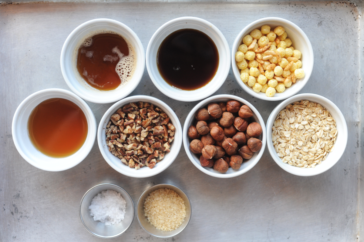 clockwise, l-r: brown butter, maple syrup, rice cereals, oats, hazelnuts, pecans, honey, turbinado sugar, Maldon salt.