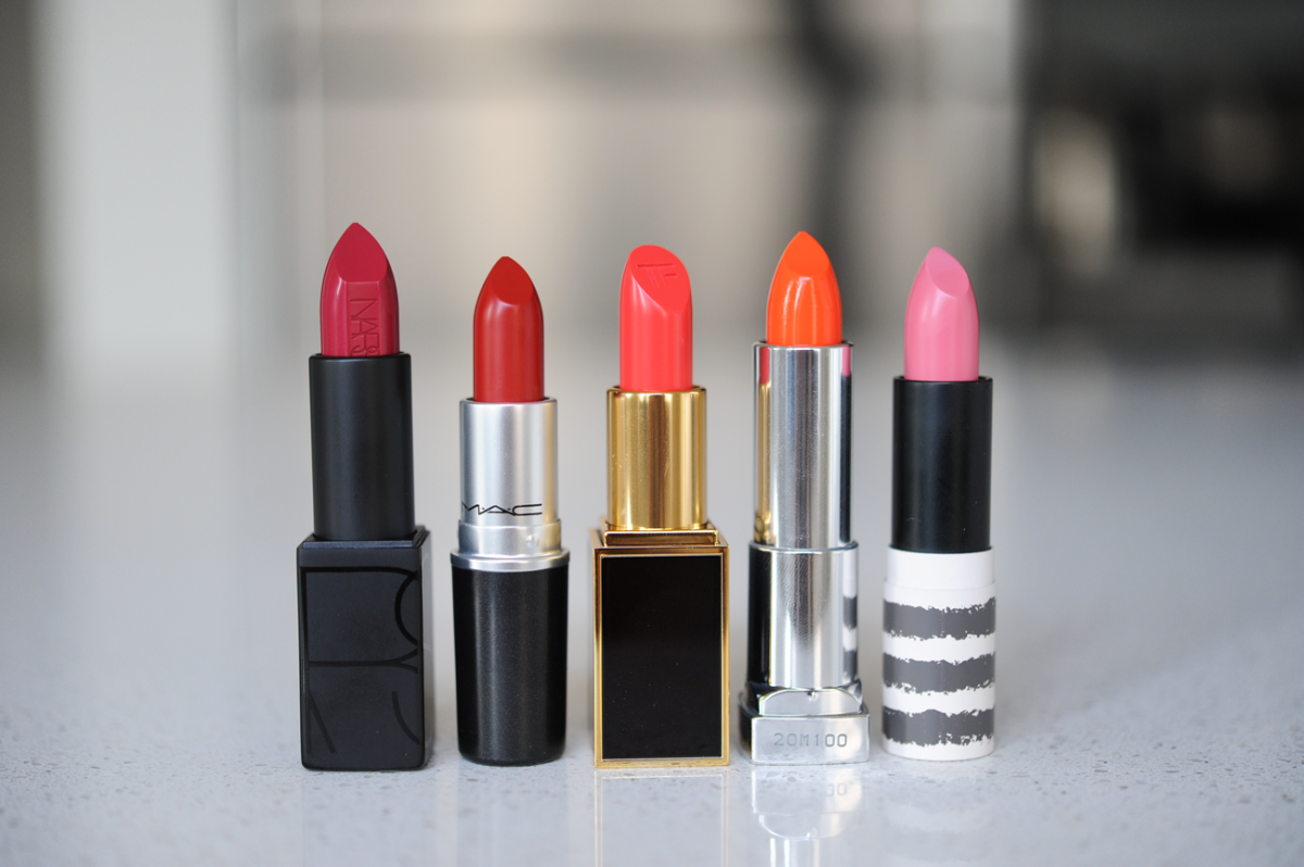 Lipsticks, l-r: Nars 'Vera',undefinedMAC 'Russian Red', Tom Ford 'True Coral', Maybelline 'Electric Orange', Topshop 'Pillow Talk'