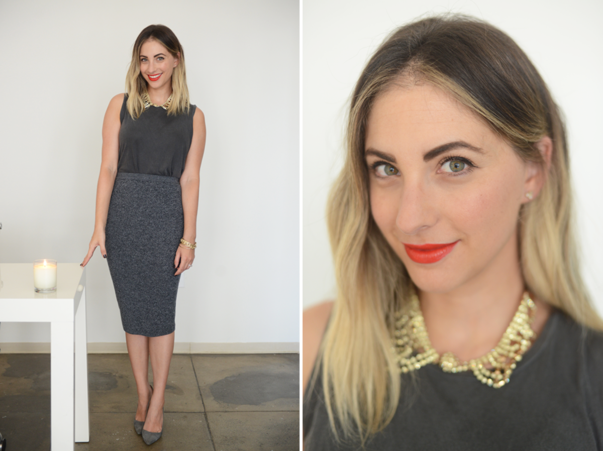 {Wednesday: AG Top, Margaret O'Leary Skirt, Pinko Necklace, Manolo Blahnik Pumps, Laura Mercier 'Portofino Red' Lipstick}