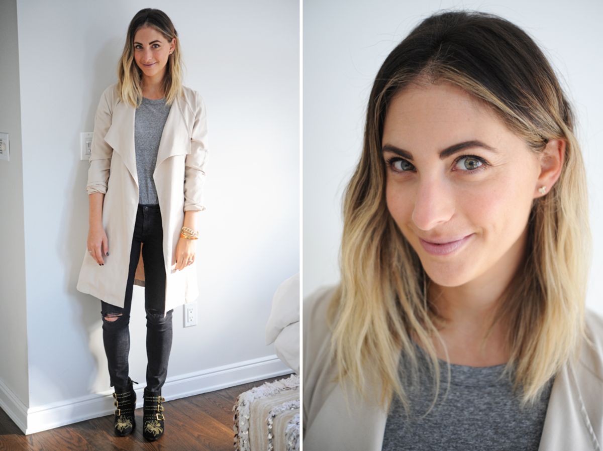 {Tuesday (working from home): Current/Elliott Top, McGuire Jeans, Cupcakes and Cashmere Trench, Chloé booties}