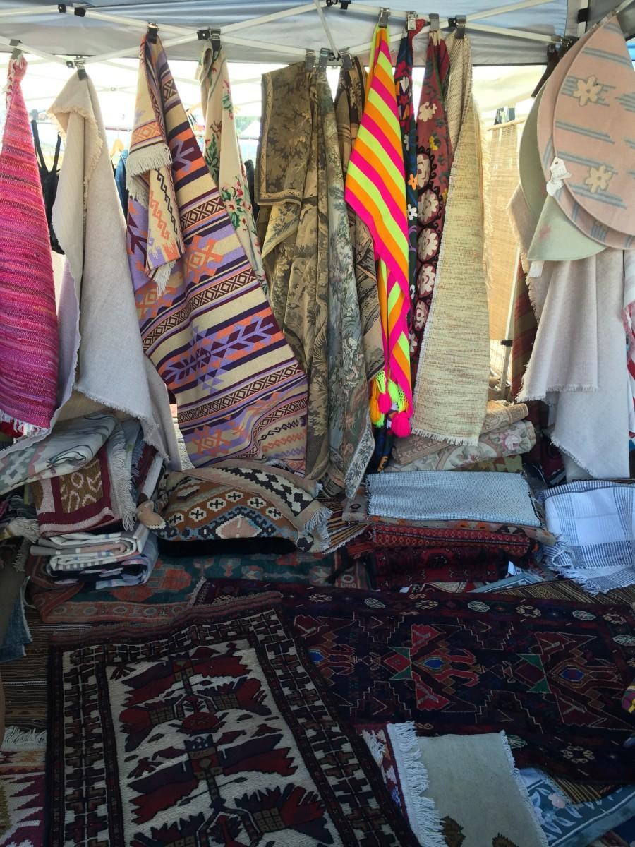 {Vintage rug shopping at the flea market}