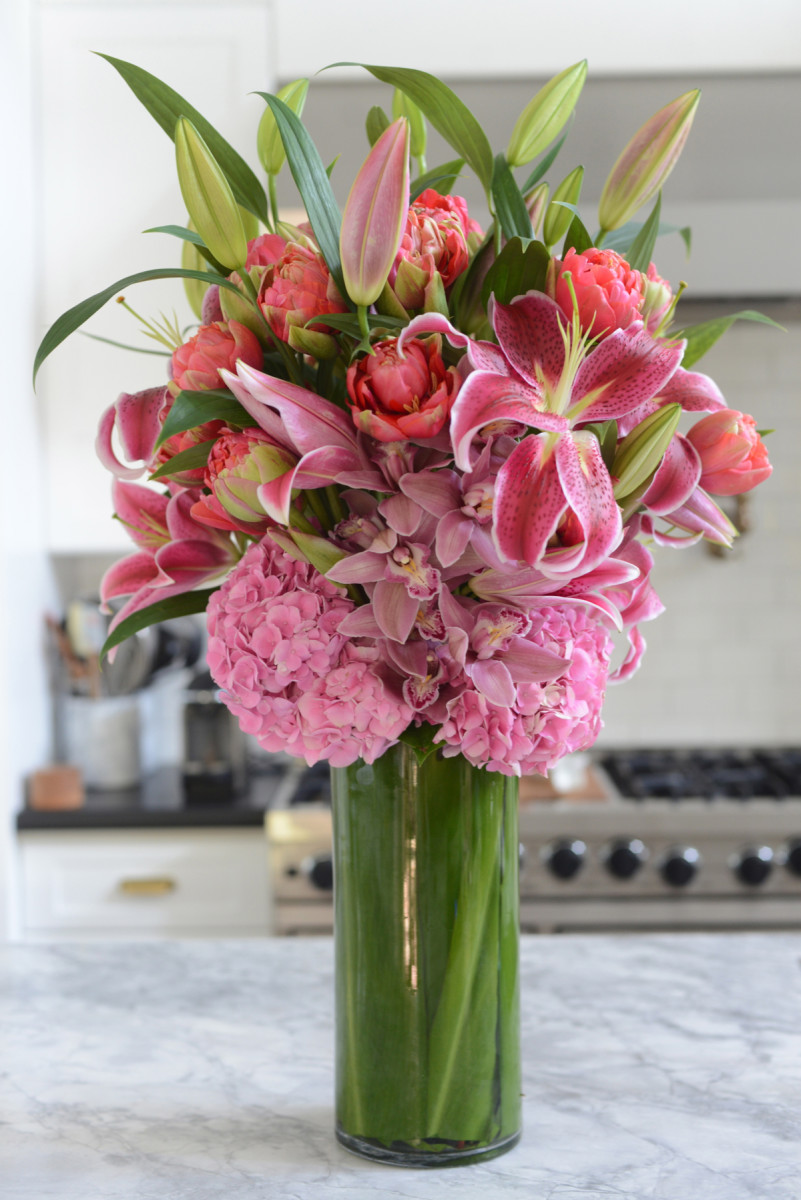 {An over-the-top bouquet to brighten up the kitchen}