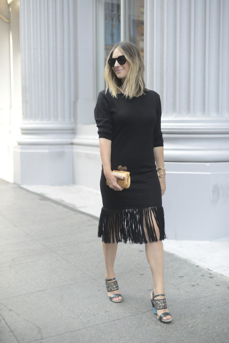 Celine Sunglasses, Ulla Johnson Sweater Dress, Dries Van Noten Heels, Tiffany & Co. Clutch, MAC 'Snob' Lipstick