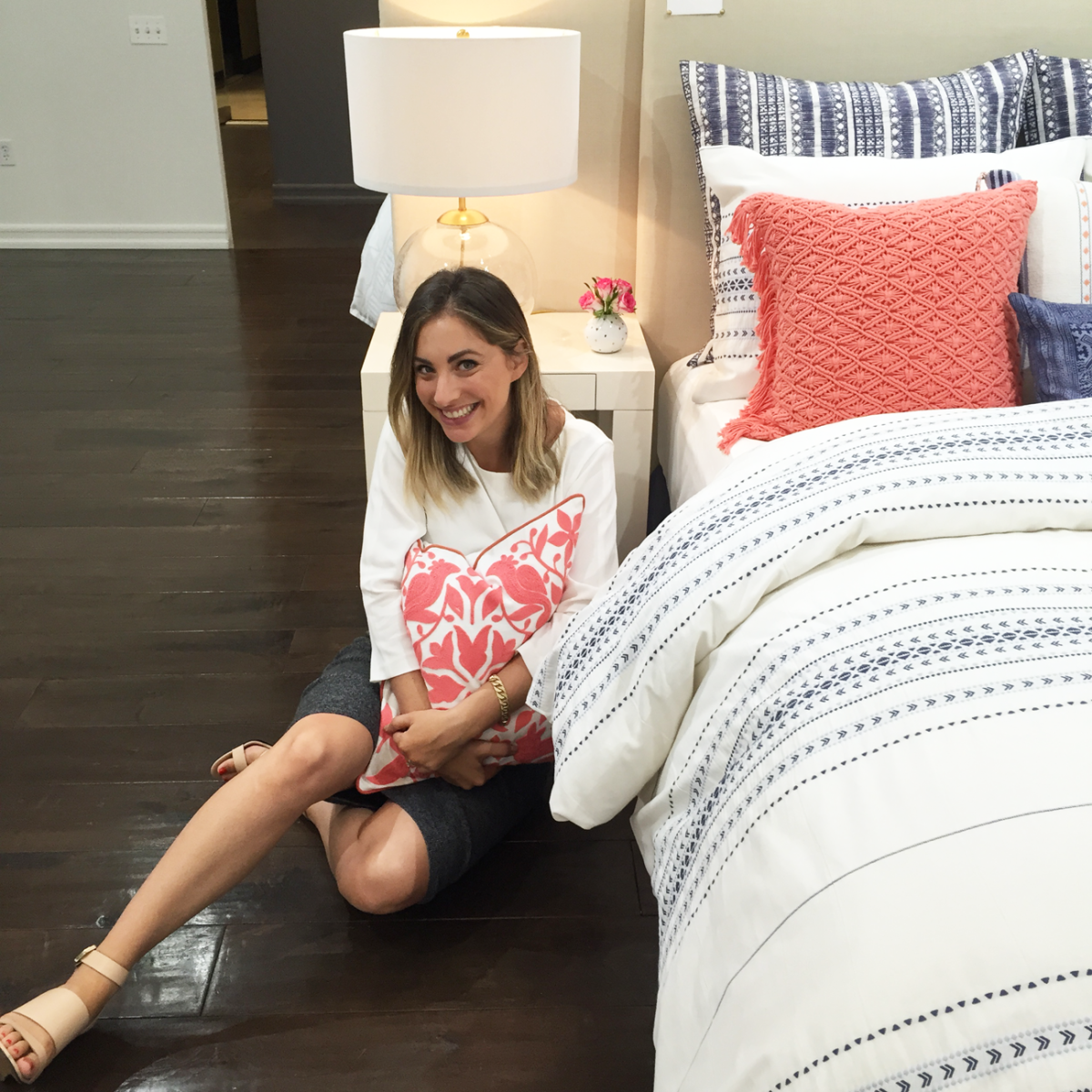 {A sneak peek at my new bedding/lighting line from last week's visit to the showroom}