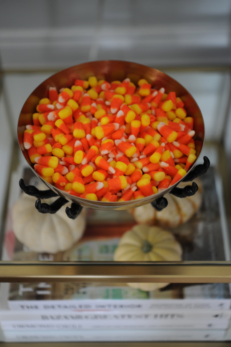 {Candy corn on the side table}