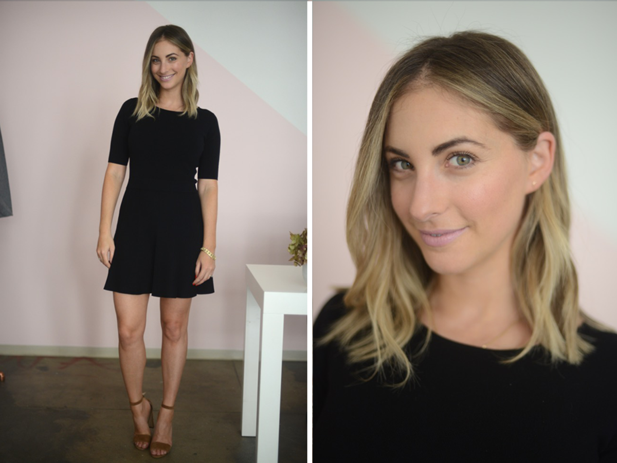 {Tuesday: Club Monaco Dress, Manolo Blahnik Sandals, Topshop 'Saint' Lipstick}