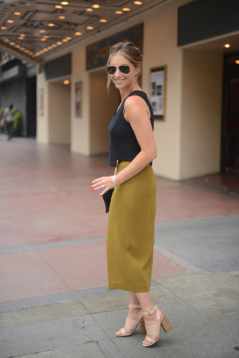 Ray-Ban Aviators, Milly Top, A.L.C. Skirt, Givenchy Sandals, Topshop Clutch