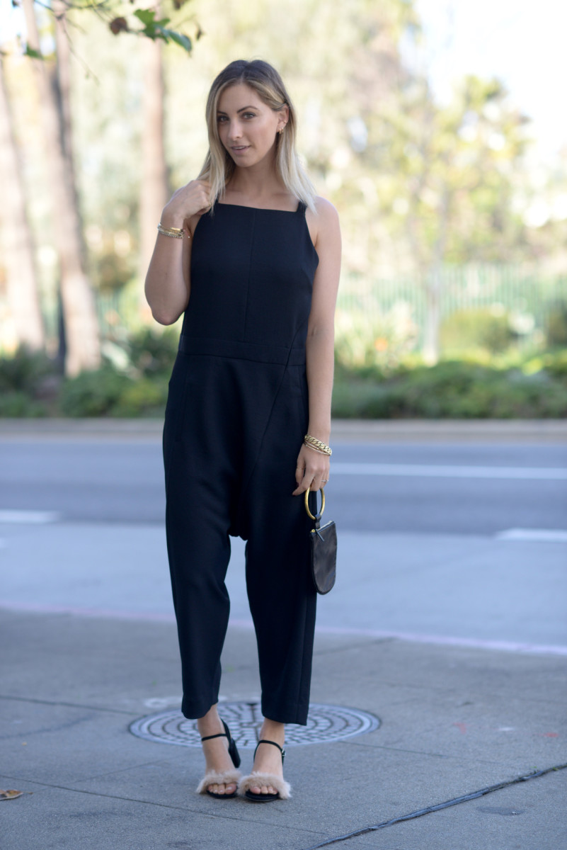 Rachel Comey Jumpsuit, Zara Sandals (on sale), OTAAT/MYERS Collective Pouch