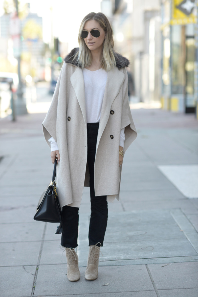 Ray-Ban Aviators, Zara Faux Fur Cape (on sale), Cupcakes and Cashmere Cashmere Sweater, J Brand Jeans, Gianvito Rossi Booties, Celine Bag