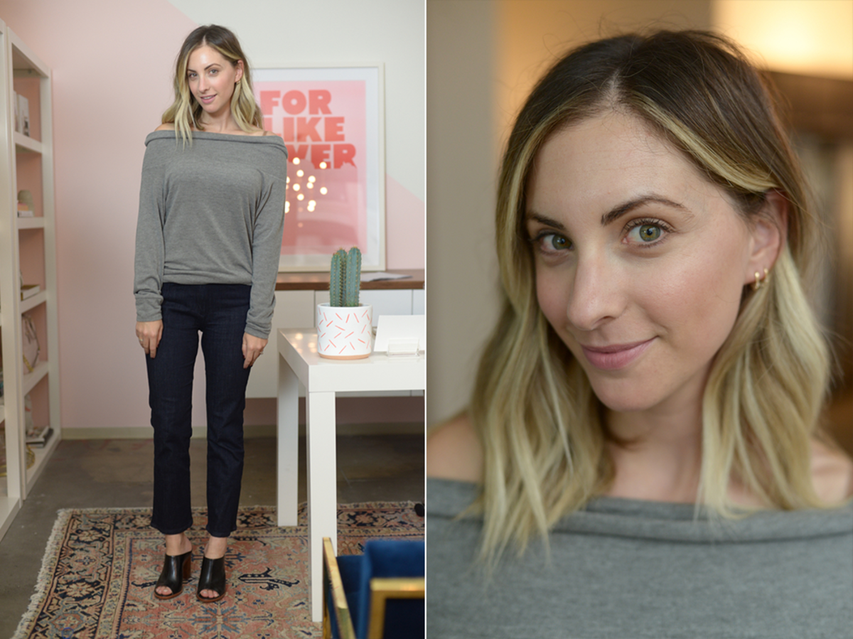 Friday: Cupcakes and Cashmere Sweatshirt (similar here), 3x1 Jeans, Louise et Cie Mules (similar here)