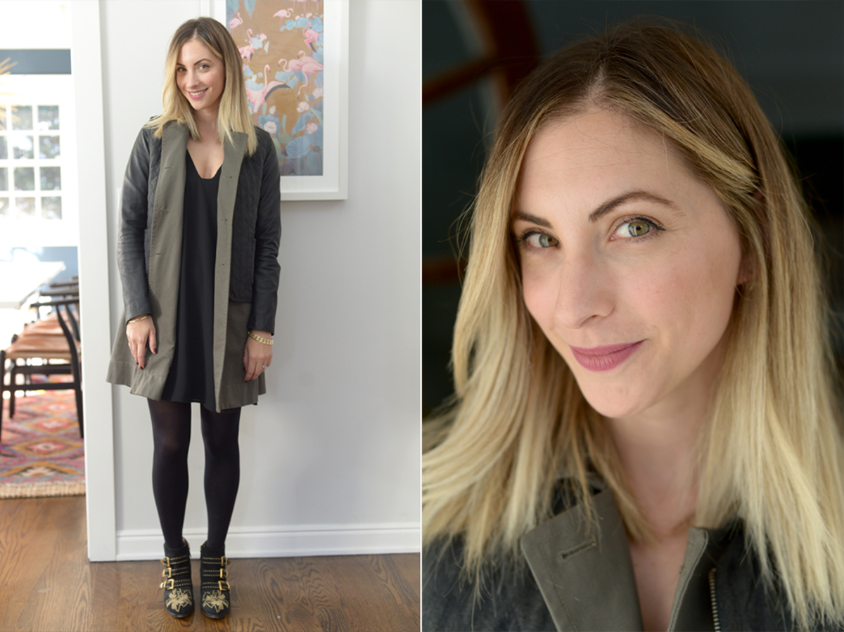 Tuesday: Elizabeth and James Jacket, Cupcakes and Cashmere Dress, H&M Tights, Chloe Booties