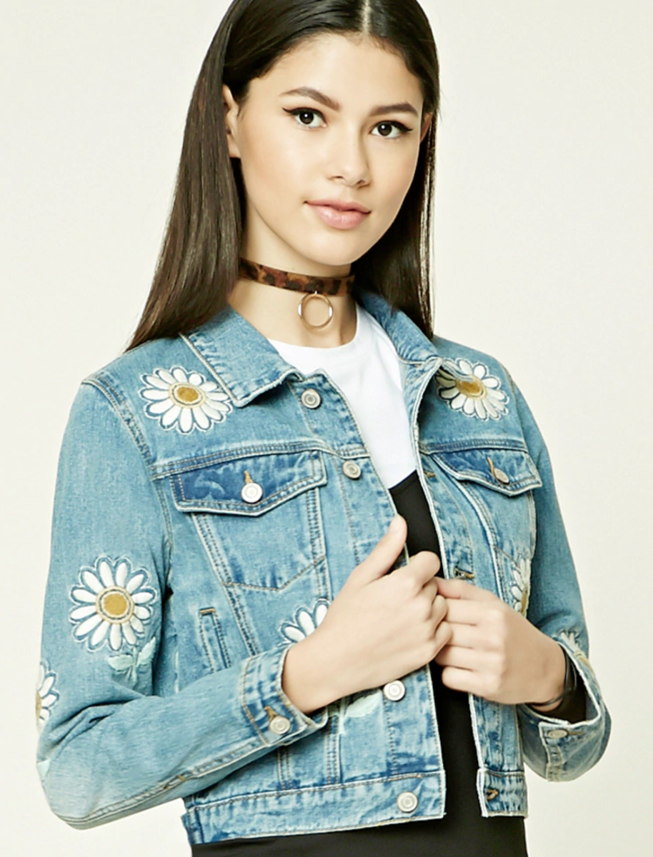 Shop the Item: Daisy Denim Jacket ($38) - Love the sweet daisies on this jean jacket