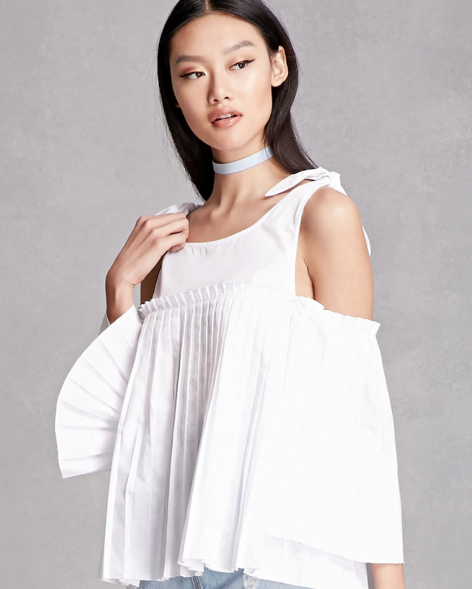 Shop the Item: Pleated Open Shoulder Top ($48) - Another top that looks way more expensive than it is