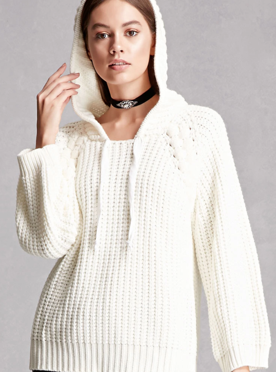 Shop the Item: Knit Hooded Sweater ($48) - This sweater looks surprisingly luxe