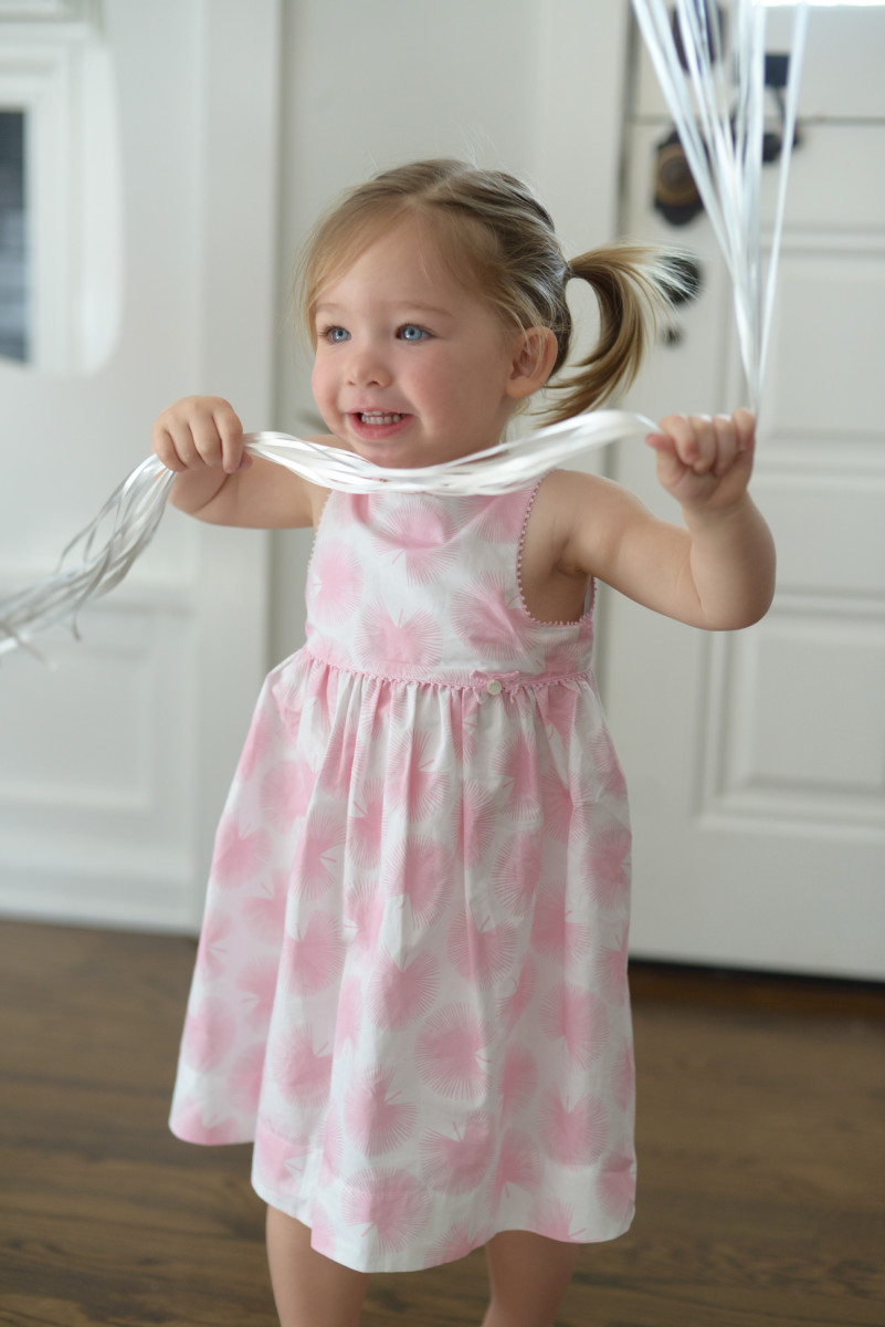 Outfit #2: A pretty pink dress I bought for Sloan while we were in Paris