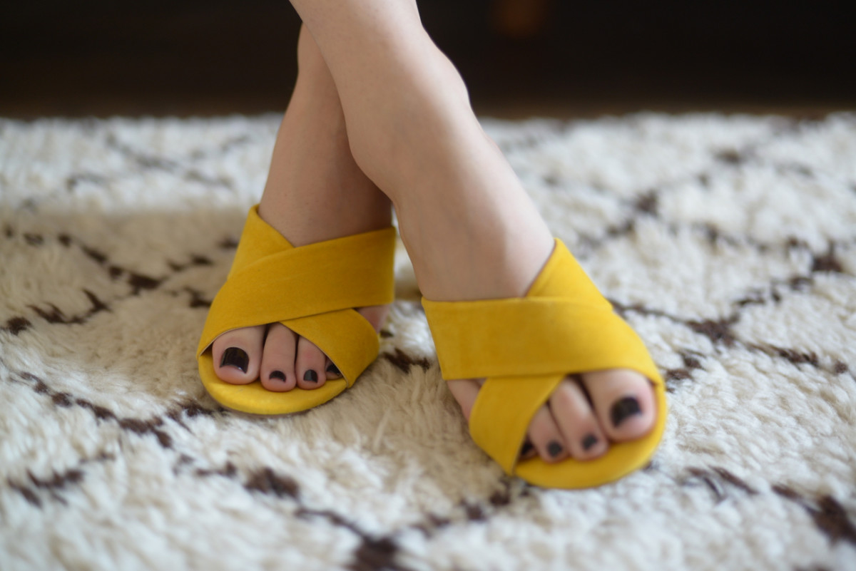 {The cutest yellow slides Alina brought back for me from New Orleans}