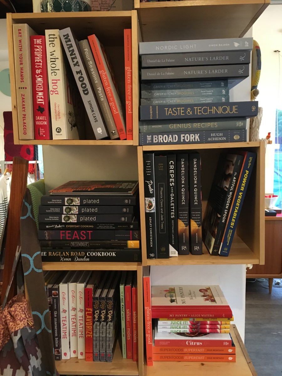{A graphically pleasing array of cookbooks at a home store in Silver Lake}
