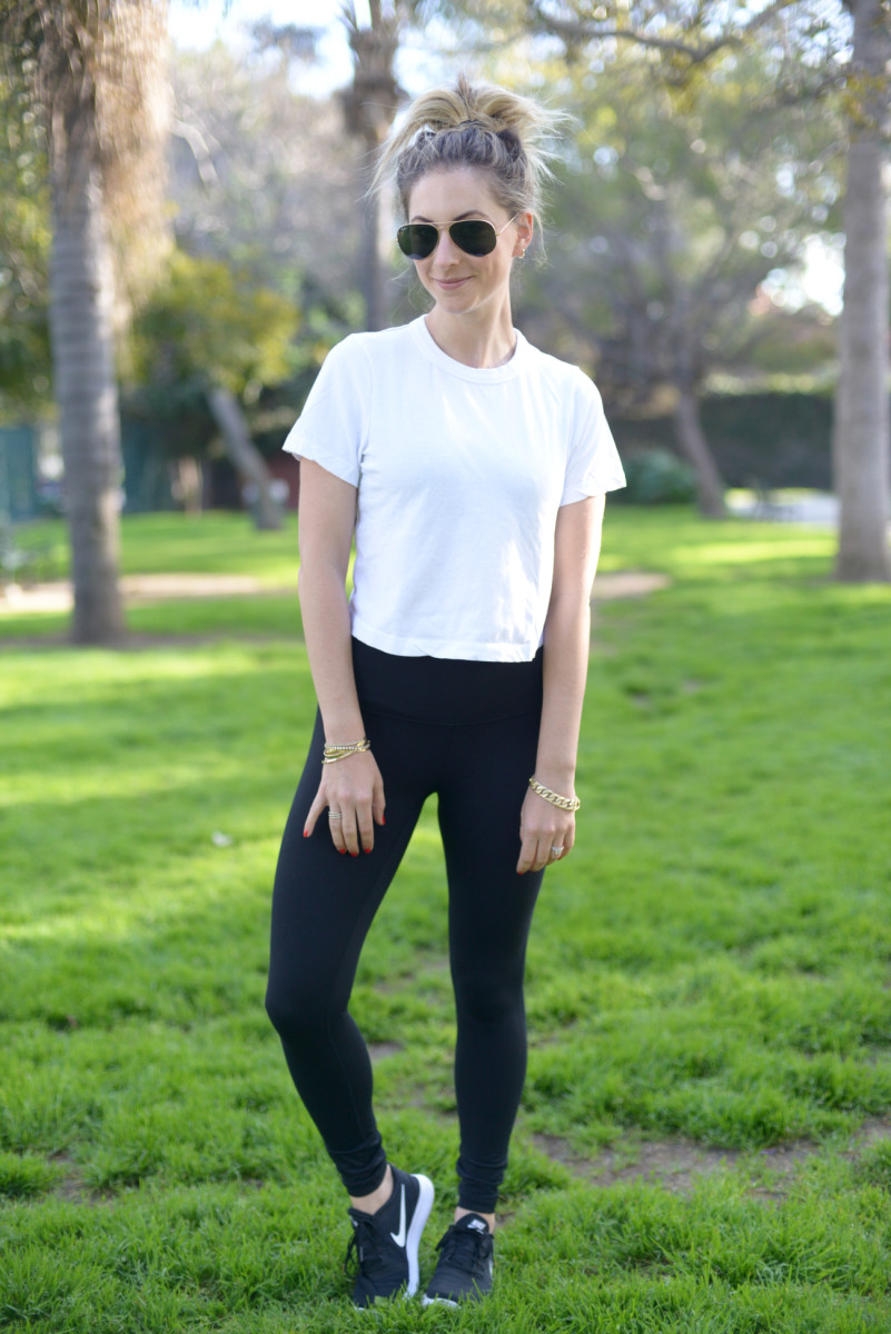 Ray Ban Sunglasses, GAP Top, Zella Leggings, Nike Sneakers