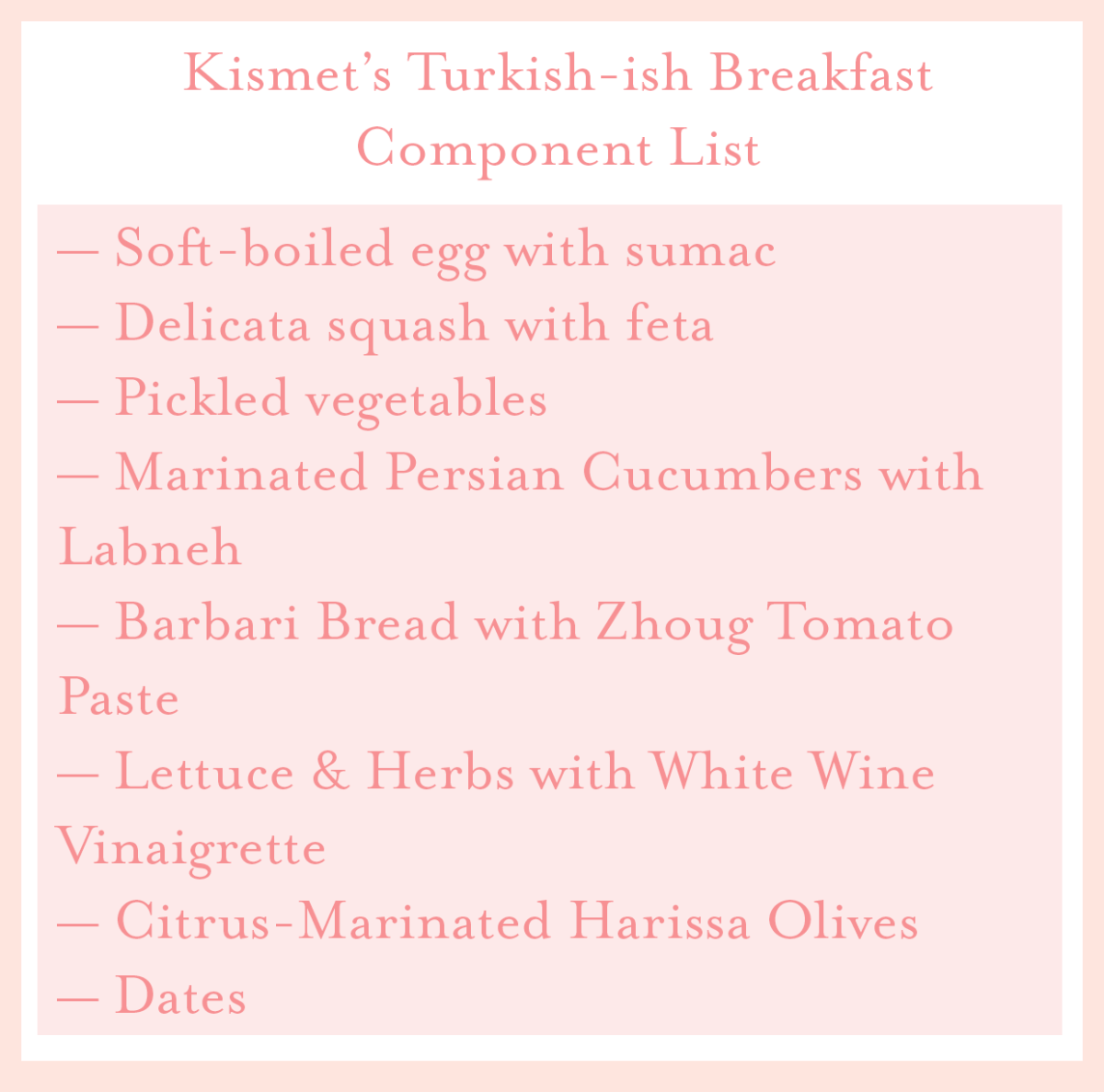 kismet turkish breakfast component list