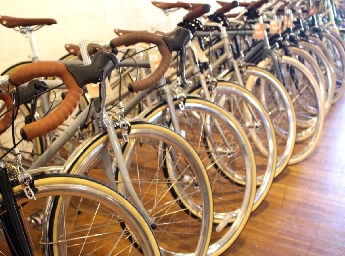 {All these uniform bikes almost make me want to learn to ride again.}