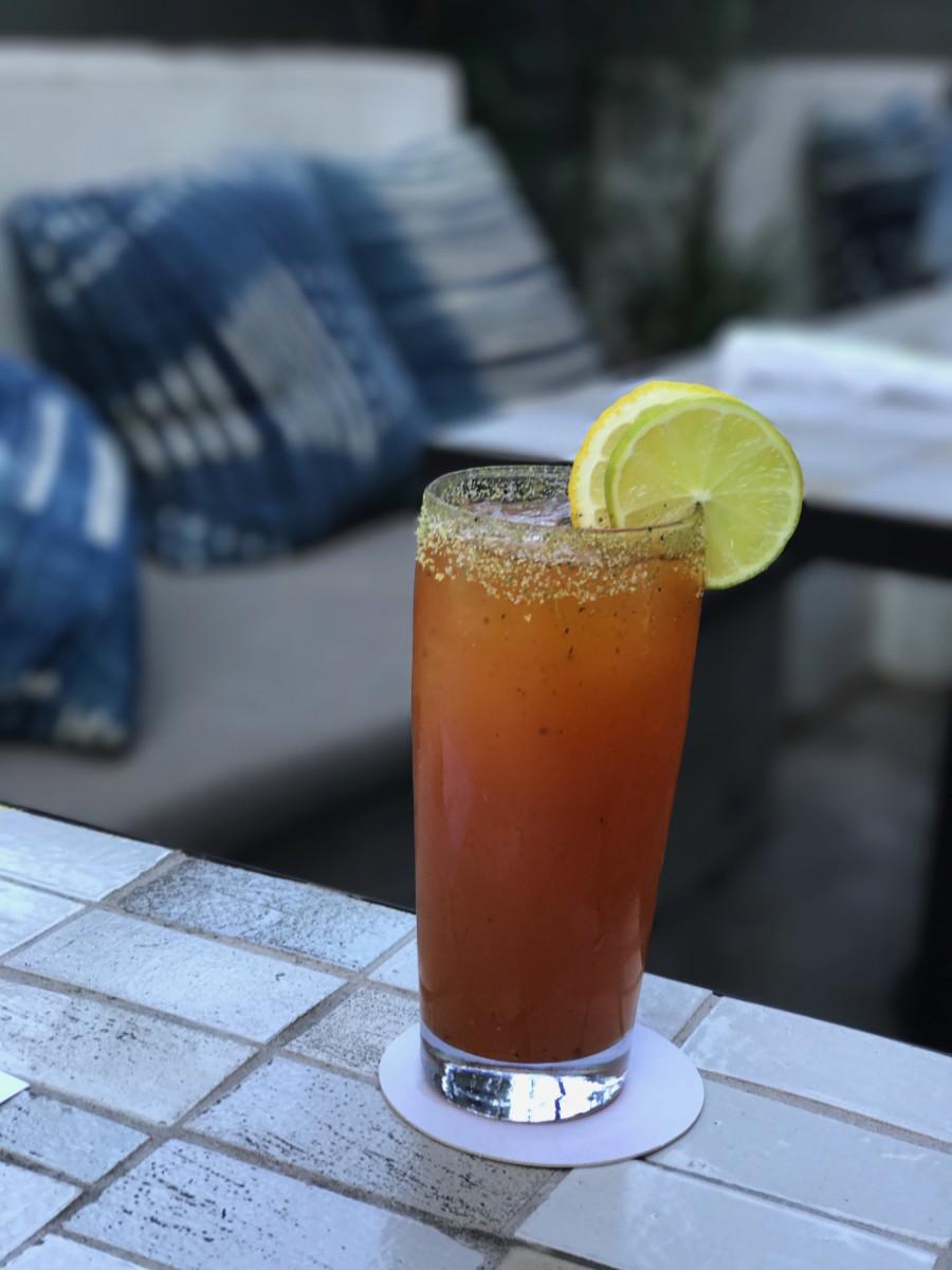 {Warm afternoon brunch + spicy Micheladas}