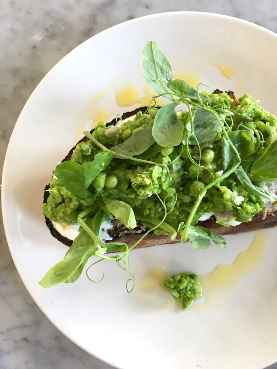 {Love the pea toast at one of my favorite restaurants, Salt Air}