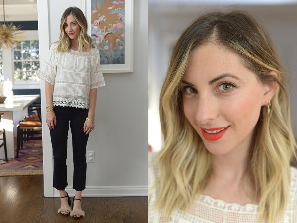 Friday: Zara Blouse (similar here), JBrand Jeans, Zara Shoes, Nars 'Red Square' Lip Pencil