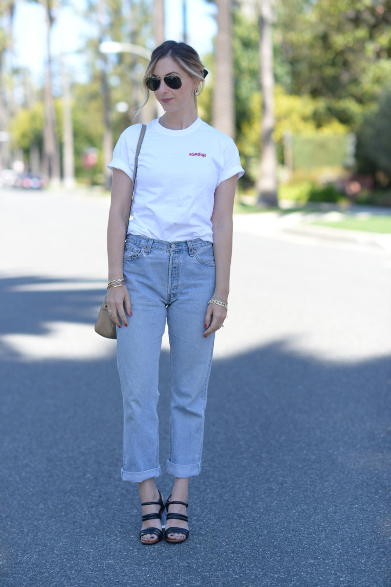 Ray Ban Aviators, Double Trouble Shirt, Vintage Levis (similar here), Zara Heels, Gucci Bag (similar here)