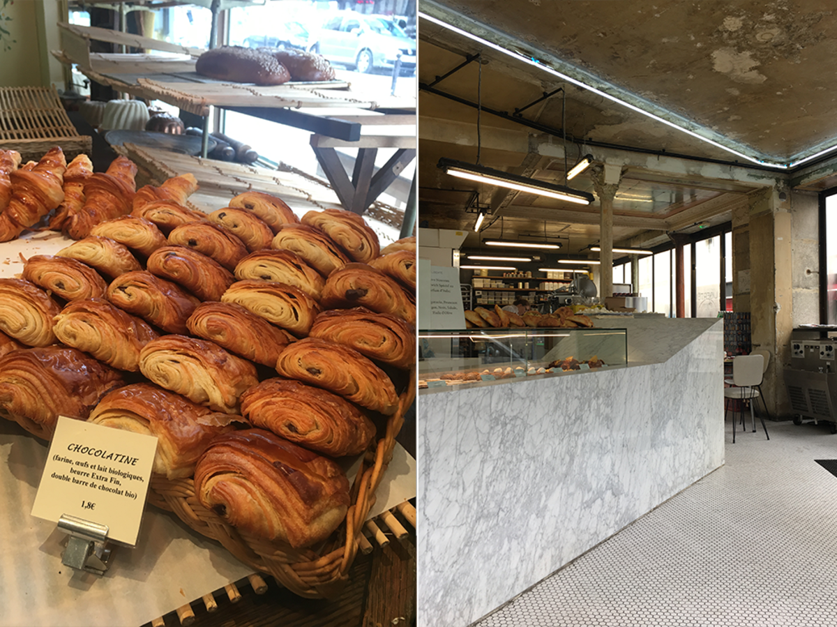 Left: Chocolate croissants at Du Pain et Des Idées; Right: Liberté (note the cool neon on the ceiling!)