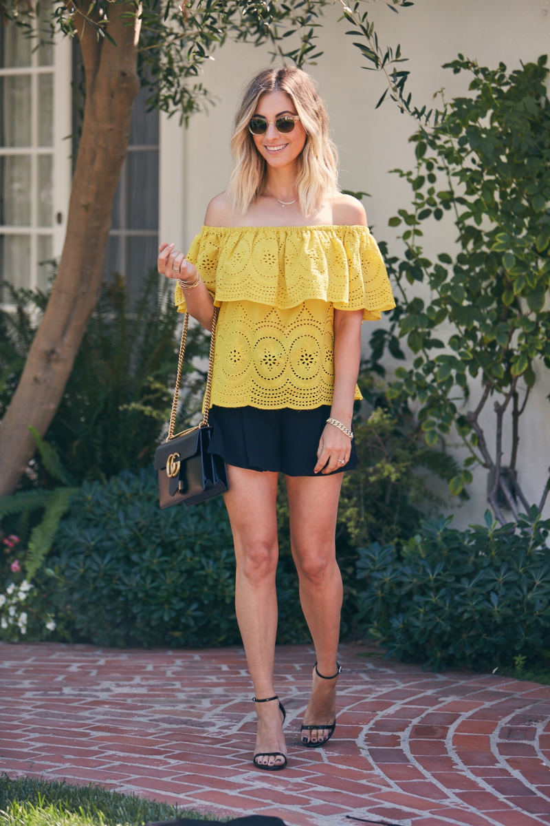 Cupcakes and Cashmere Top(up to 20% off at ShopBop) and Shorts (similar here), Illesteva Sunglasses (similar here), Gucci Bag (similar here), Stuart Weitzman Heels