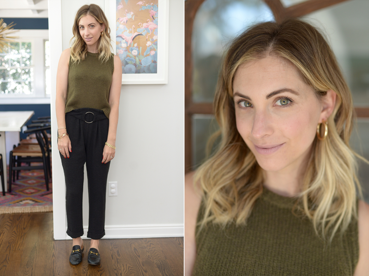 Monday: Madewell Sweater Top (similar here), Zara Pants (similar here), Gucci Loafers
