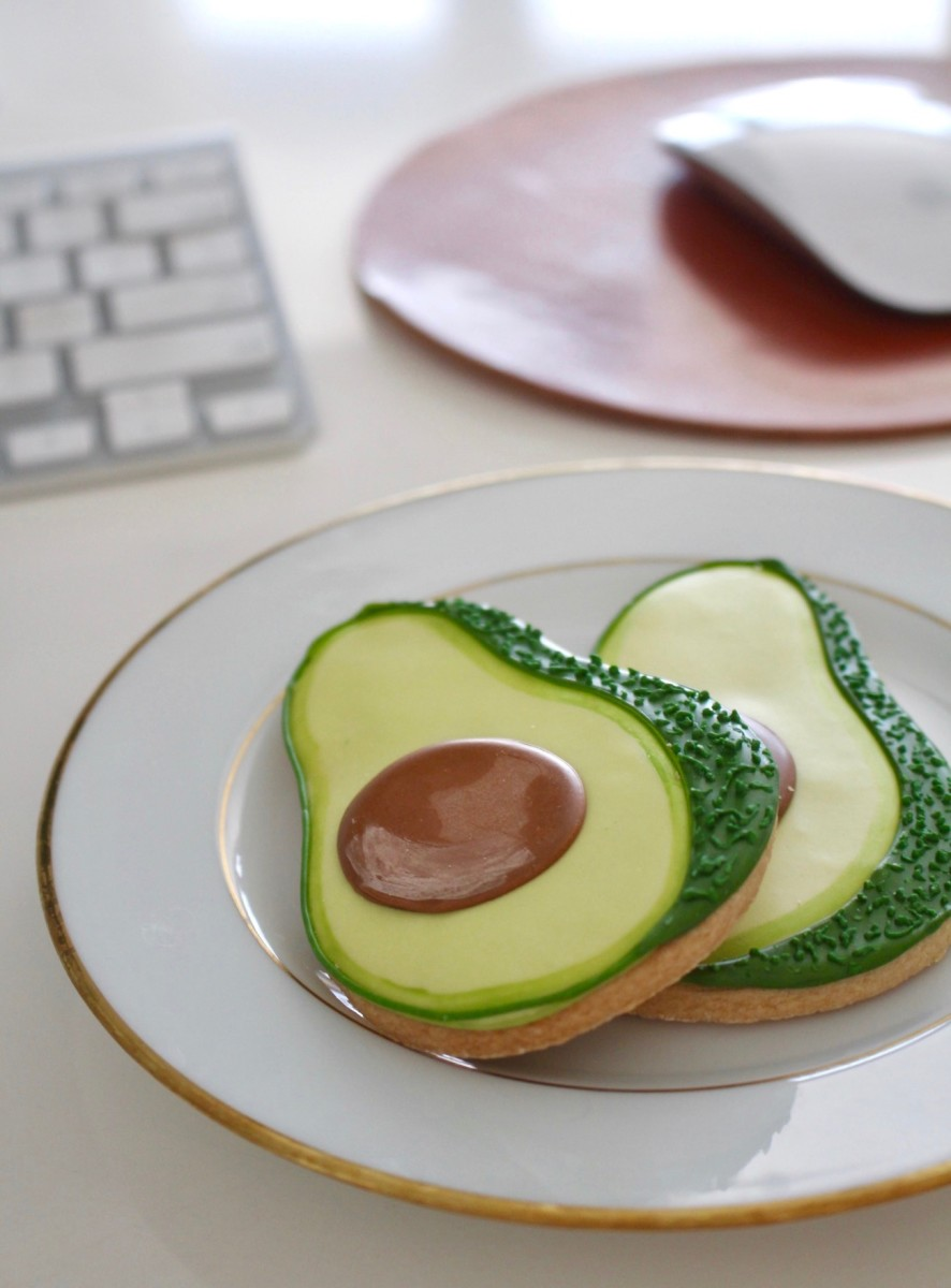 {The cutest desk-side snacks: avocado cookies!}