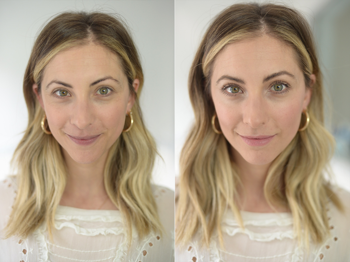 Left: Before; Right: After (with mascara and a touch of blush)