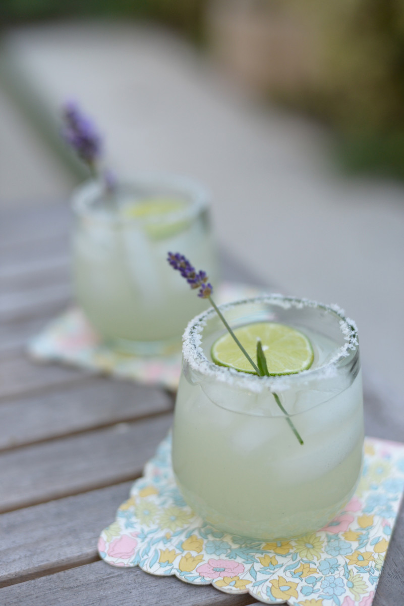 {Lavender-lime margaritas as an early Cinco de Mayo celebration in recycled glasses}