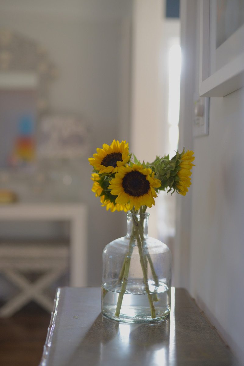 {Afternoon light in our entryway and a recycled glass vase}