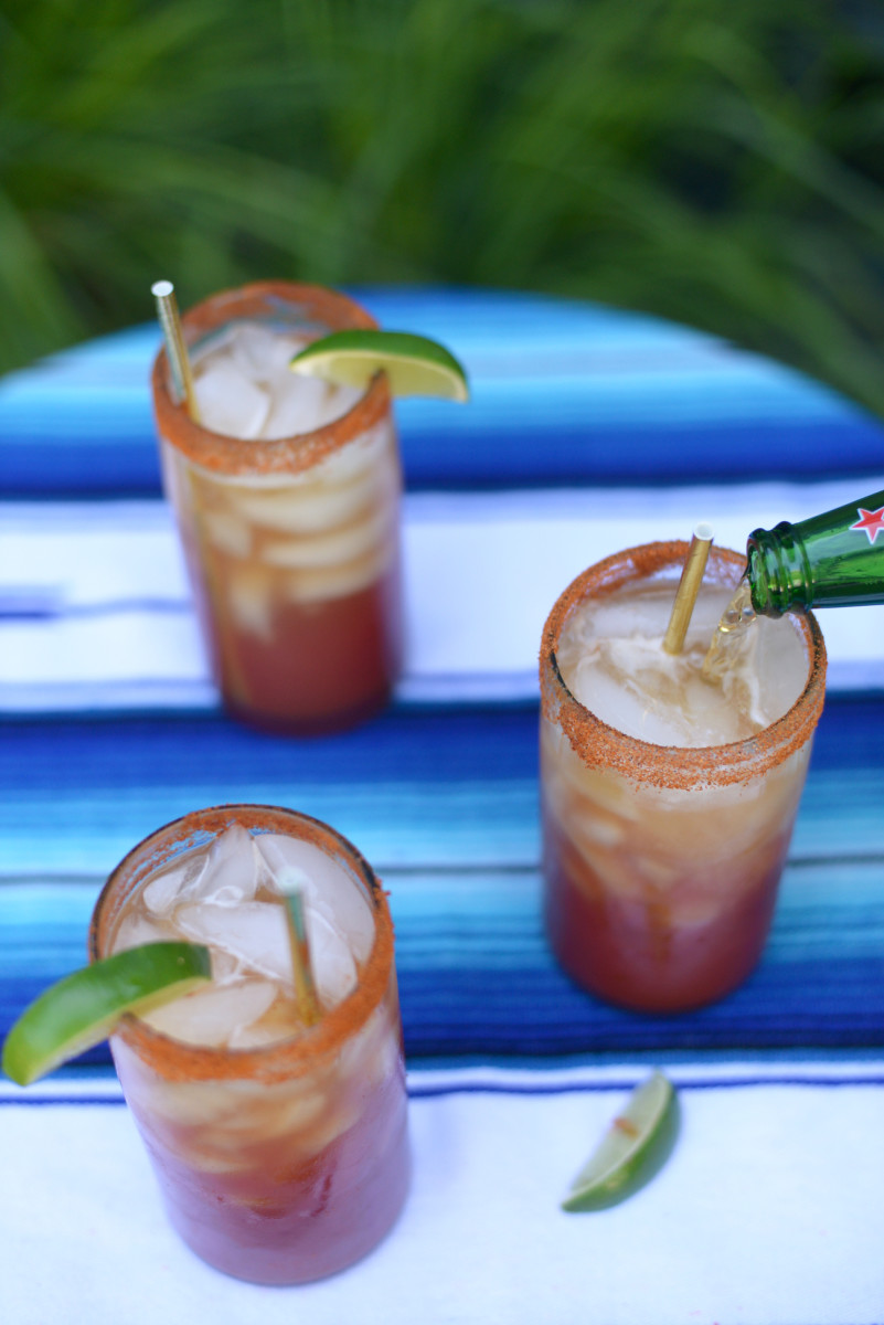 {Micheladas in our back yard in recycled glass tumblers}