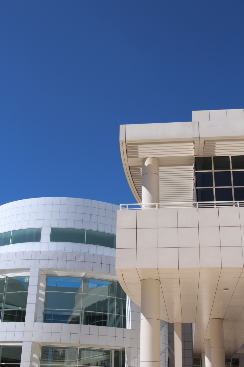 {The Getty almost looks like clouds against the blue sky}