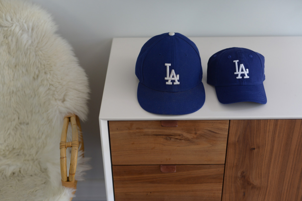 {Sloan and Geoffrey's matching Dodgers hats}