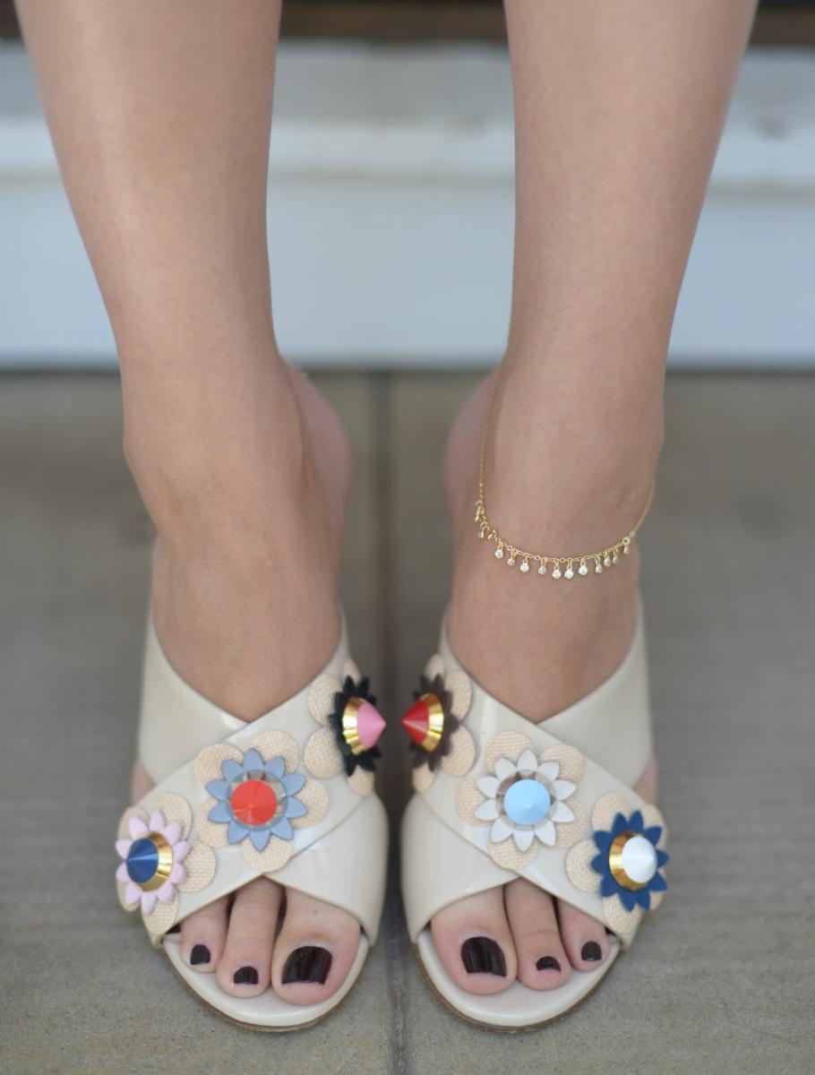 Shashi 'Skylar' Anklet, Fendi Slides