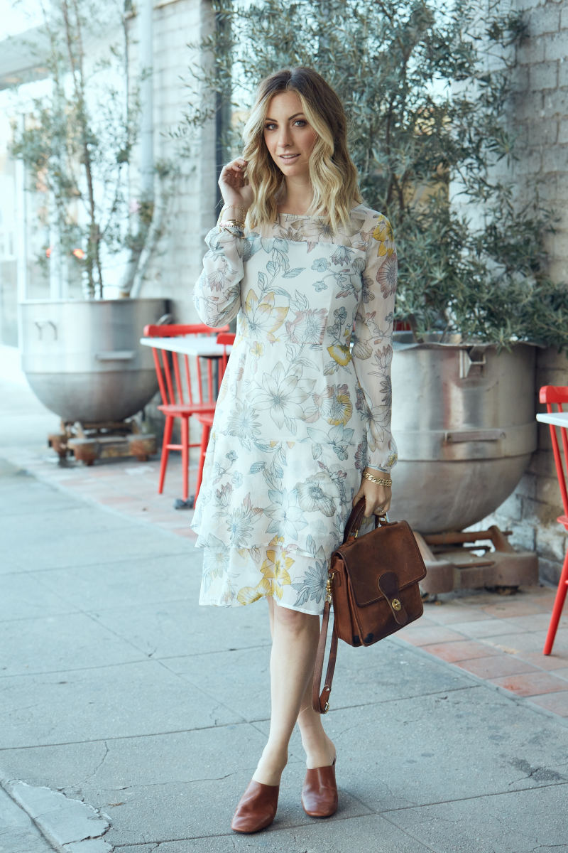 Cupcakes and Cashmere Dress, The Row Slides (similar here), Vintage Bag (similar here)