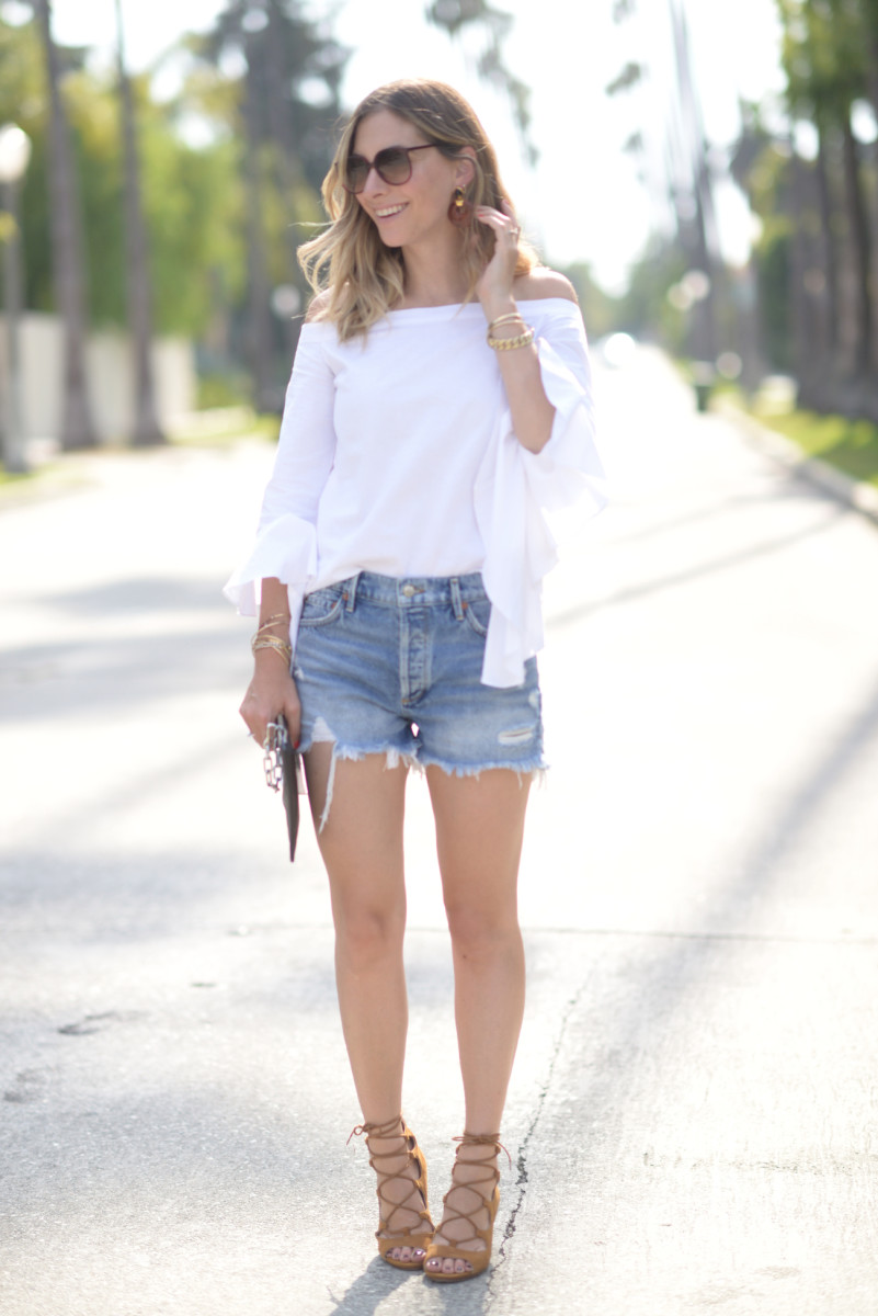 Vintage Sunglasses (similar here), MLM Top (available in black hereand on sale!), Lizzie Fortunado Earrings (similar here), Agolde Shorts, Zara Shoes (similar here), Alexander Wang Clutch (similar here)