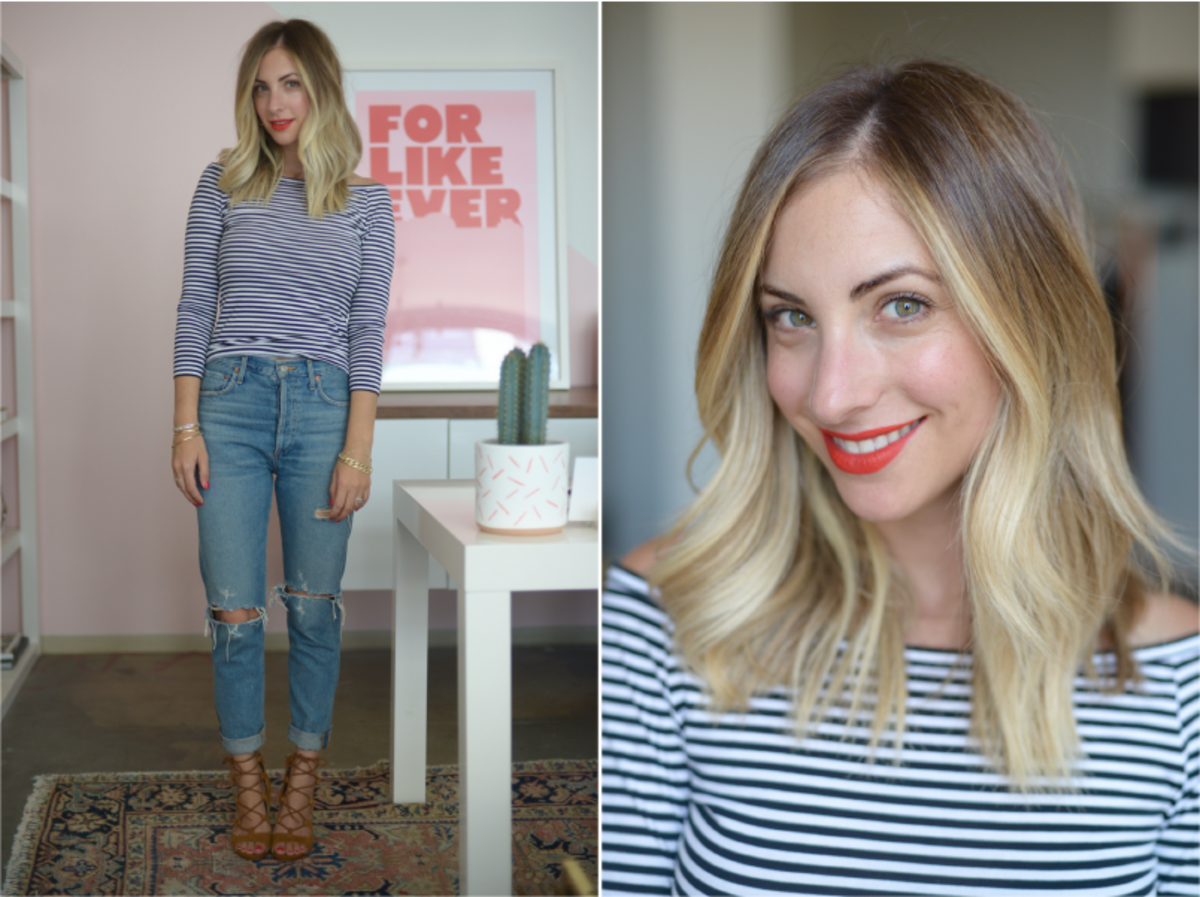 Thursday: Theory Shirt (similar here), Agolde Jeans, Zara Sandals (similar here), Estee Lauder 'Restless' Lipstick (no longer available, similar here)