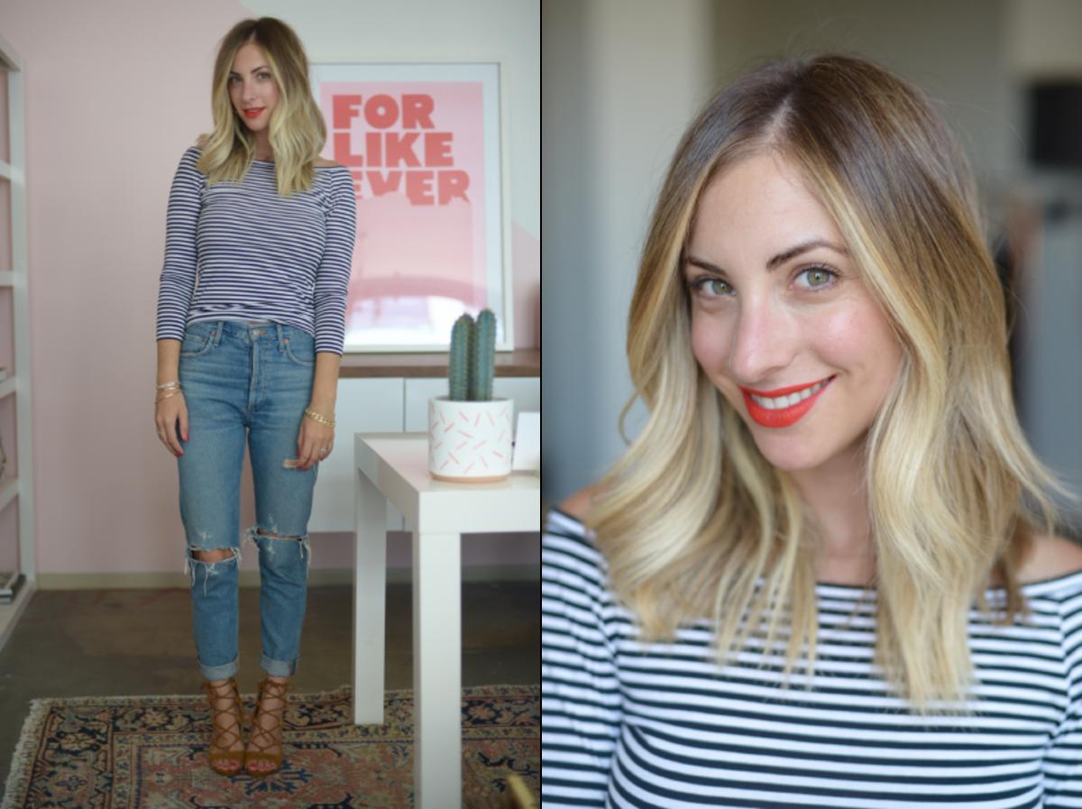 Thursday: Theory Shirt (similar here), Agolde Jeans, Zara Sandals (similar here), Estee Lauder 'Restless' Lipstick (no longer available, similar here)