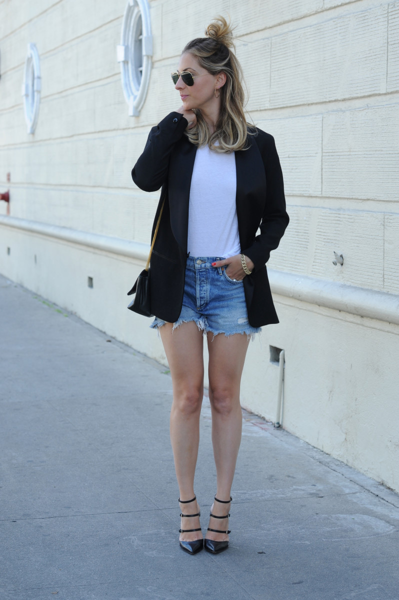 Ray-Ban Aviators, Ariel Gordon Hoops, James Perse Tee, Isabel Marant x H&M Blazer (similar here), Agolde Cut-Offs, Gianvito Rossi Pumps (similar here), Vintage Chanel Bag