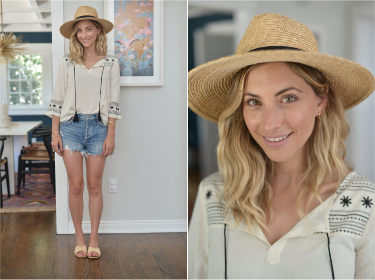 Friday: Ace of Something Hat (available in white here), Cupcakes and Cashmere Top (similar here), Agolde Shorts, Carrie Forbes Sandals (available in black here)