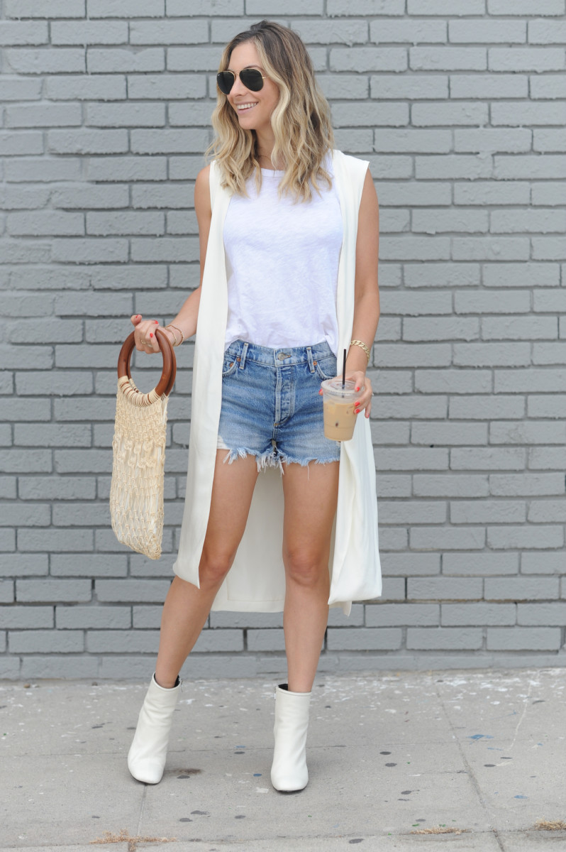 Ray-Ban Aviators, Cupcakes and Cashmere Vest, Current/Elliott Tank, Agolde Cut-Offs, Rag + Bone Booties, Vintage Bag