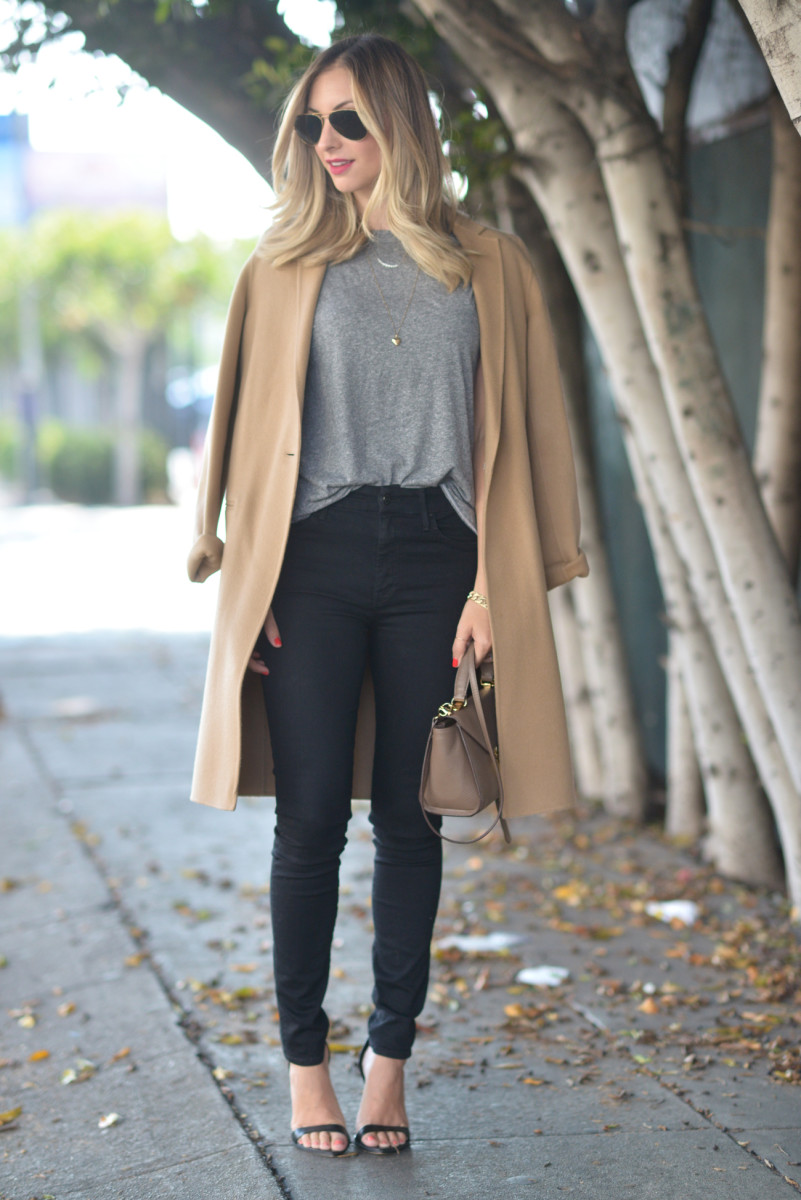 Ray-Ban Aviators, Theory Coat (affordable option here), The GREAT Shirt (similar here), MOTHER Denim, Zara Heels (similar here), Mark Cross Bag (similar here and here)