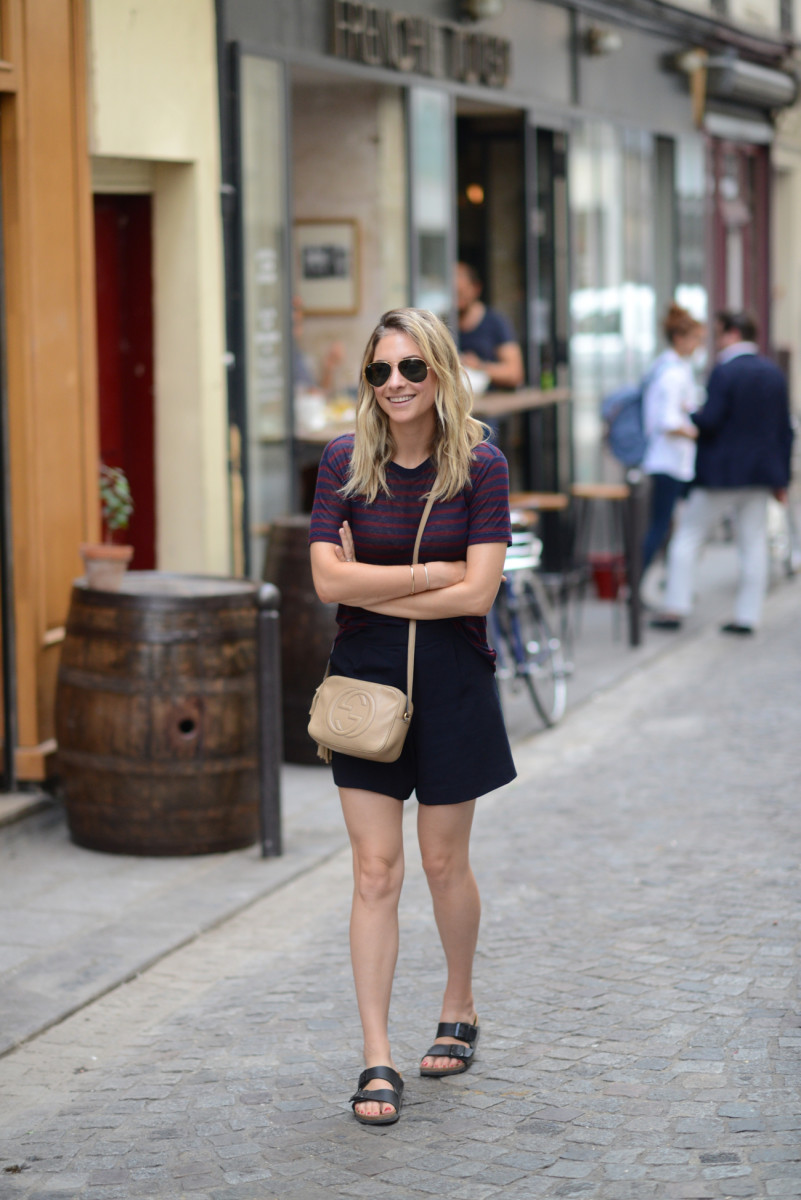 {Ray-Ban Aviators, T by Alexander Wang Shirt, James Jeans Shorts, Birkenstocks (last minute addition!), Gucci Bag}