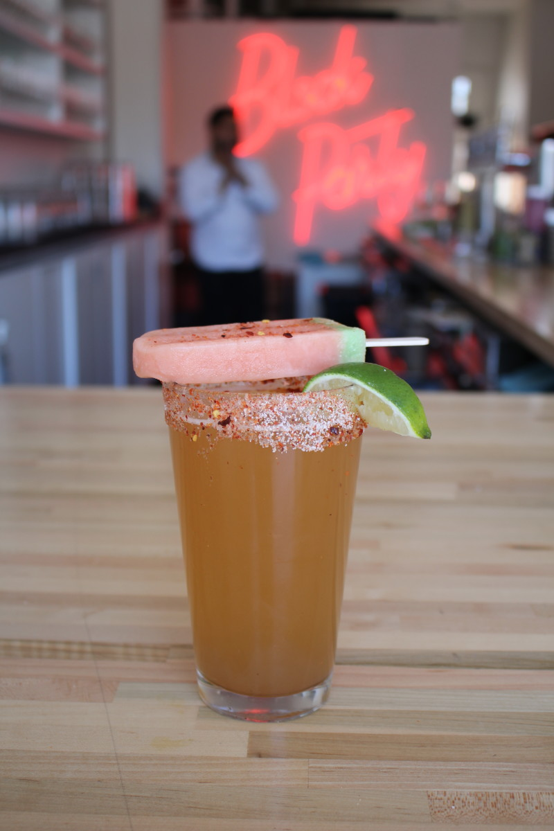 {The Michelada and tomato paleta at Block Party in Highland Park}