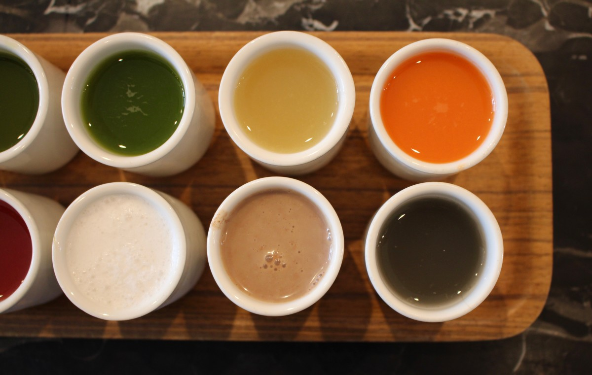 {Juice flight from Juice Served Here, to balance our indulgent week}